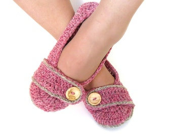 MADE TO ORDER Crochet House Slippers Womens Crochet Slippers Pink and Grey Wool with Buttons Tab for Women