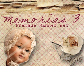 "Banner Set - Shop banner set - Premade Banner Set - Graphic Banners - Facebook Cover - Avatars - Bisiness Card - ""Memories 3"""