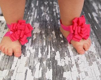 Felt Flower Bareoot Sandals