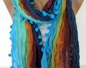 Multicolor Scarf -- Shawl Scarf -   Cowl Scarf bridesmaid gift- Women's fashion - Pompom Scarf