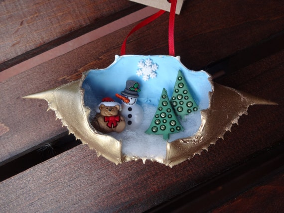 Blue Crab String Lights : Items similar to Hand Painted Blue Crab Shell Ornament Snow Scene on Etsy