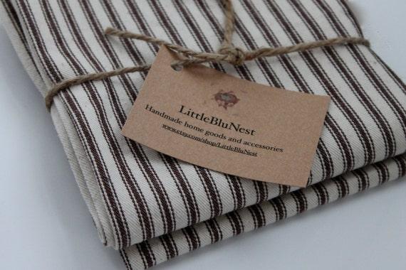 Custom made cloth napkins, striped cloth napkins ,chocolate brown  ticking stripe,reusable napkins,Thanksgiving table, fall napkins