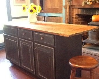 Reclaimed wood kitchen island ,counter top ,farm house rustic table top, TOP only Cabinet for display