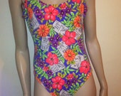 Vintage 80s TAHITI NEON Tropical Swim Bathing Suit Leotard  Coachella Festival  Nu Wave size 11 12