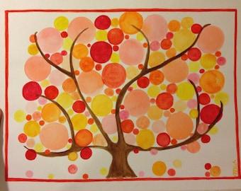 Bubble Trees, Orange, Red, Yellow, Springtime, Seasons, Spring, Sunchickiearts