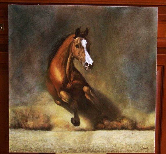 Original Painting Gallop at Dusk Horse ARAB Gniady by ...