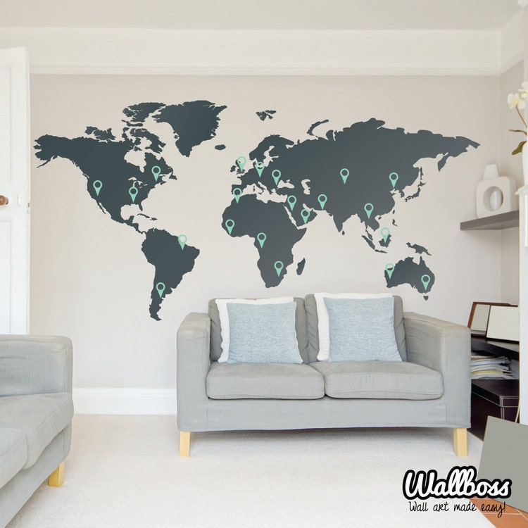 large world map wall decal sticker 7ft x vinyl by wallboss. Black Bedroom Furniture Sets. Home Design Ideas