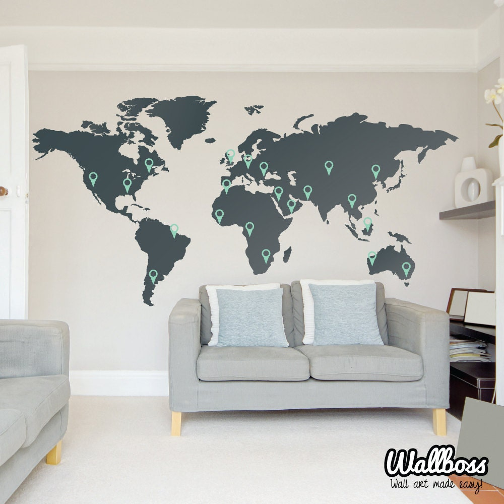 LARGE World Map Wall Decal Sticker 7ft x Vinyl by Wallboss