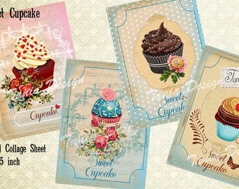 SWEET CUPCAKE-Digital Collage Sheet Gift Tags Printable download Vintage Paper Goods Greeting Cards vintage
