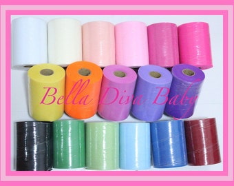"Tulle 6"" yard tulle lots of colors -yard-trim to make beautiful tutu- dress - baby girls tutu skirt - princess dress, wedding embellishments"