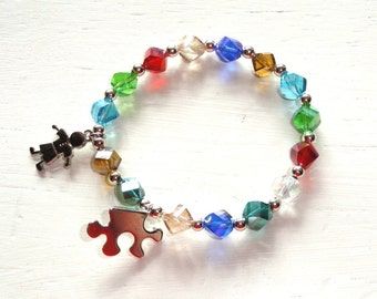 Austism Awareness Beaded Bracelet with Puzzle and Boy/Girl Charms