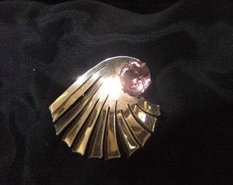 Ernest Steiner Original Sterling Silver Spiral Brooch with Lavender Stone, Circa 1940s