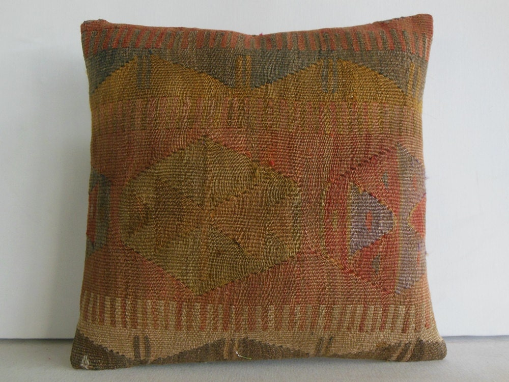 Decorative Pillows Kilim : DECORATIVE THROW PILLOW Kilim Pillow Cover Turkish Cushion