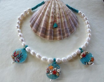 "Splash into cool, tropical ""Tide Pools""-fat Baroque pearls, organic faceted turquoise and three under the sea Art bead delights!"