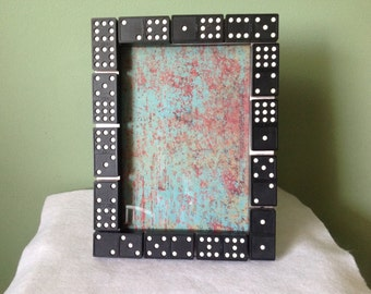 5x7 Metal Frame Embellished with Black Dominos
