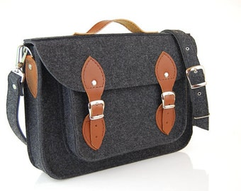Laptop bag 15 inch pocket, felt satchel,Macbook Pro 15 in,Custom size Laptop bag, sleeve, case, with leather straps