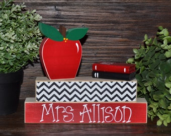 Unique Teacher Gift Personalized Teacher Name Plate Apple Decor Teacher Block Set Librarian Gift Set End of Year Teacher Gift Back to School