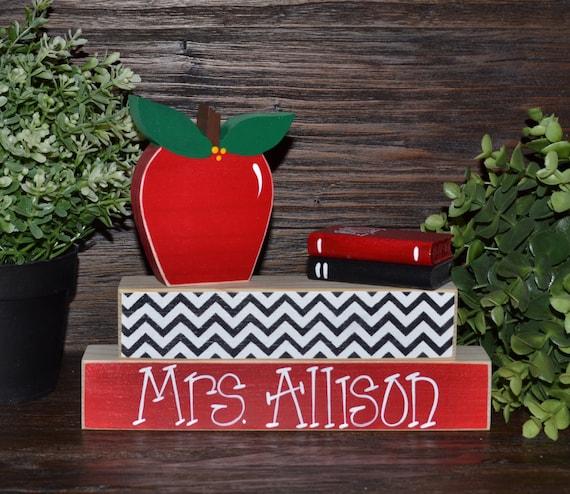 Unique Classroom Decor ~ Unique teacher gift personalized name plate apple
