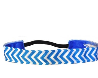 """non slip headband  Chevron-Blue & white 7/8"""""""