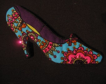 Swarovski Crystal TURQUOISE SHOE BROOCH-Hand Embroidered-Wearable Magnetic Pin-Colorful Heels