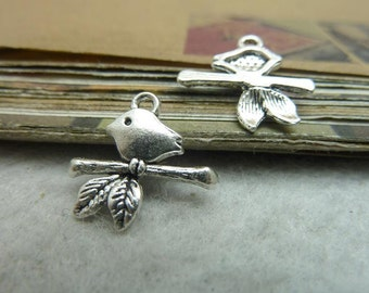 50pcs 16x17mm Antique Bronze/ Antique Silver Branches Bird Charms Pendants Jewelry Findings AC7172