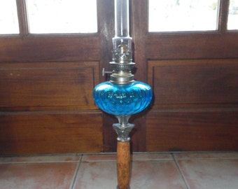 French vintage oil lamp, original  blue glass reservoir and chimney, luminaire, lighting,