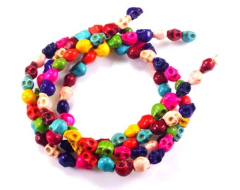 50  pcs muti  colour  howlite  skull bead   for  jewellery making   ( C452 )