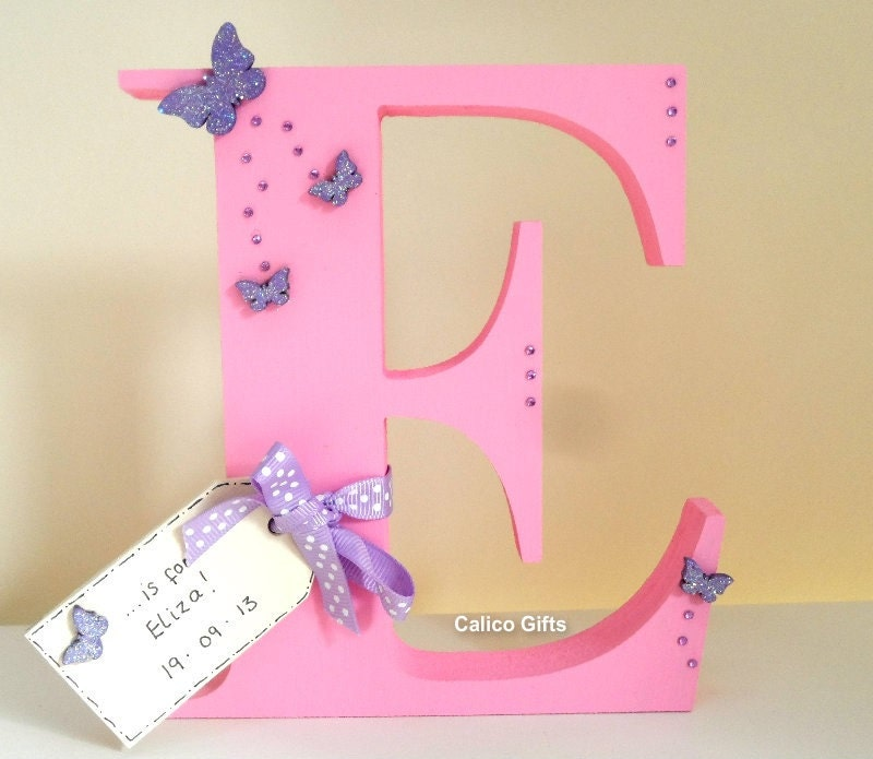 New baby gift personalised letter christening gift pink letter new baby gift personalised letter christening gift pink letter free standing letter wooden letter reduced special offer negle Images