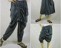 Convertible Skirt/Pants - Funky Steampunk Charcoal Grey Cotton Jersey Pants Attached Skirt With Drawstring on Front And Back - P037