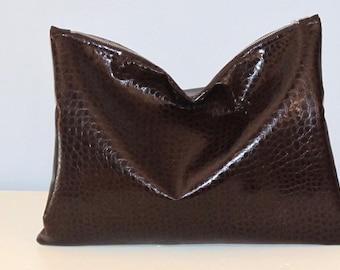Clutch / Oversize Clutch Bag /  Fold over Clutch Bag / Clutch Purse / Evening Bag /  Brown Faux Leather Crocodile