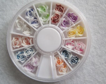 OD-112 3D 1 Wheel Types Soft Flower Decoration  in wheel Shiny Nail Decoration Lovely Outlooking