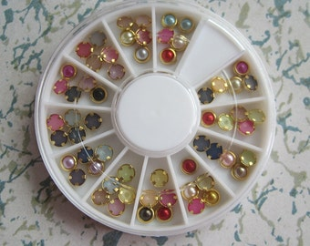 OD-131 3D 1 Wheel Types Mix Color Pearl Decoration  in wheel Shiny Nail Decoration Lovely Outlooking