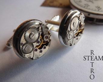 10% off sale17  Mens Steampunk Wedding Cufflinks 16 mm - Steampunk cufflinks Steampunk Jewellery -personalized jewelry