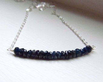 Sapphire necklace September birthstone bar blue silver chain rondelles