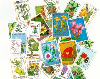 25 Floral Postage Stamps - Scrapbooking, collage, altered art