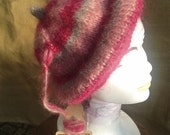 Beret Hat- Pink- Mohair Wool Hat-  Handmade- Pink and Grey Color - Knitted - Made in France