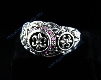 Steampunk Gothic cross carving ring Gothic engraving ring ---925silver ring