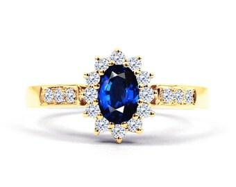 Starlight Blue Sapphire and Diamond Engagement Ring