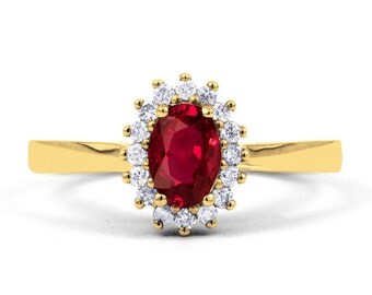 18ct Yellow Gold Ruby & Diamond Halo Engagement Ring 0.16ct 2mm