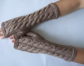 Knitted of 100 % soft MERINO wool. Warm light BROWN fingerless gloves, wrist warmers, fingerless mittens. Handmade.