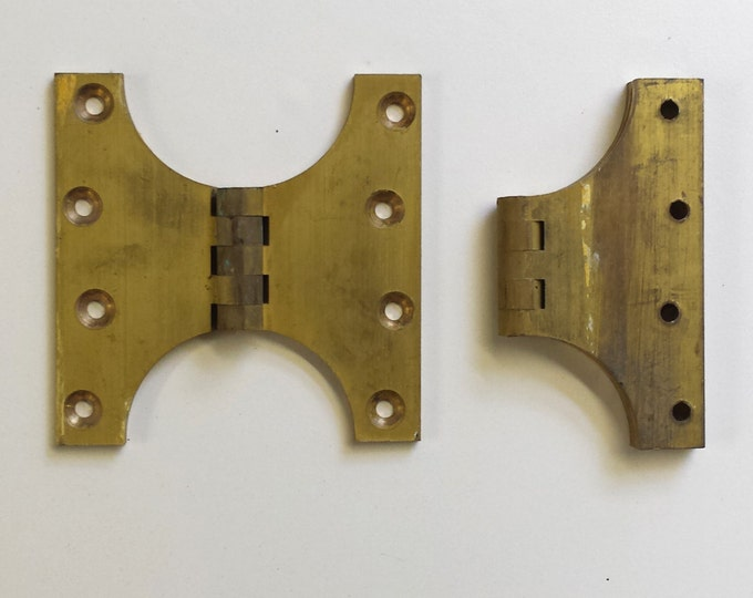 Parliament hinges in heavy brass - workshop space saver - 1 x pair unused but shop soiled