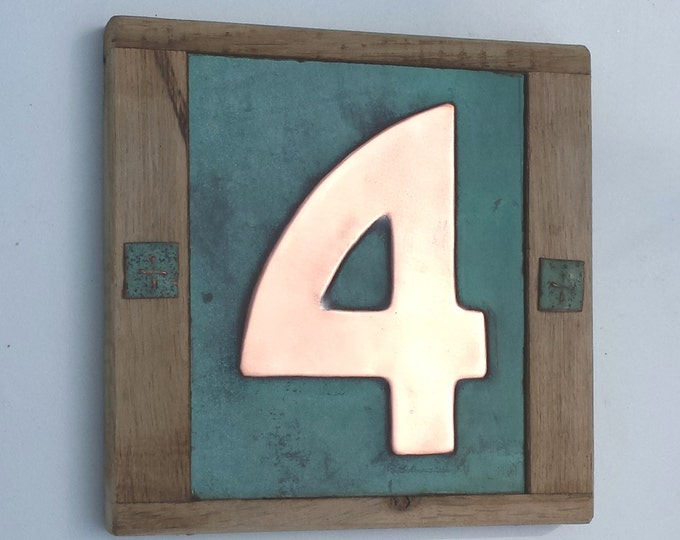 "Arts and Crafts Style Wood and Copper House number 3""/75mm, 4""/100mm Bala font with real patina,  1 no. polished and laquered g"