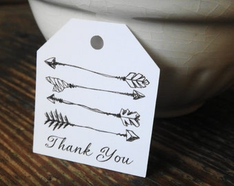 Arrow Thank You Tags, Set of 20, Arrow Tags, Thank You Tags, Weddings, Bridal Showers, Baby Showers, Favor Tags, Gift Tags