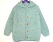 Toddler sweater with hood, hand knitted wool sweater, toddler cardigan, children clothes, lambswool and angora, mint green, size 4 years