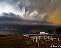 Red Barn Photography, Storm Photo, Barn Print, fence print, Kansas, White Fence, cloud storm, large storm, art landscape, Scenery Kansas