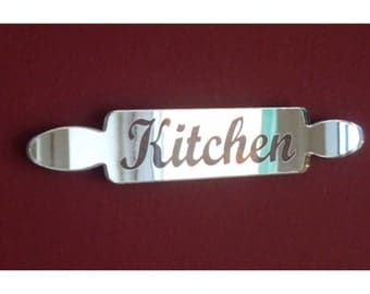 "Engraved Rolling Pin ""Kitchen"" Door Sign Mirror - 3 Sizes Available"