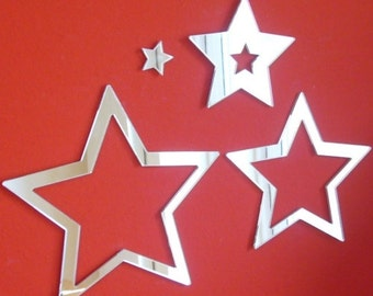 Star Infinity Shaped Mirrors - Sets of five Stars available in 5 sizes