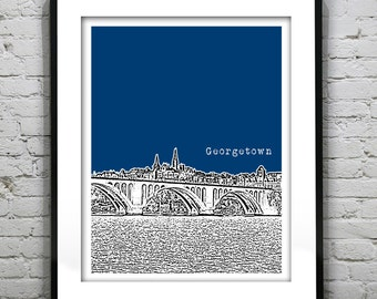 Georgetown Washington DC Skyline Poster Art Print Version 2