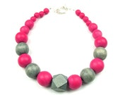 Red Blue Wood Necklace, Women's Handmade Summer Statement Jewelry, Vegetable Dyed Geometric Bead Necklace by elle and belle