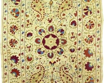 Amazing antique design handmade silk suzani from Uzbekistan 5035